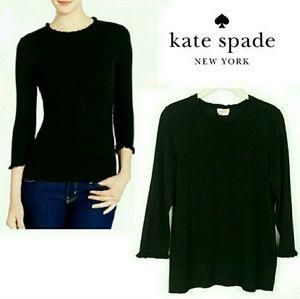 Kate Spade Bekki Black Ruffle Trim Sweater